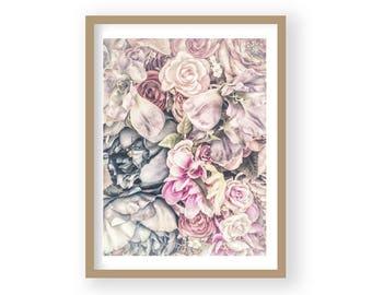 Flower Print, Flower Poster, Rose Print, Rose Wall Decor, Rose Wall Art, Pink Rose Decor, Pastel Art, Bedroom Decor, Country House Decor