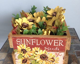 Sunflower pine cone crate