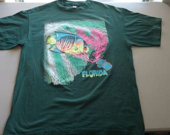 No Fear vintage neon Florida coral reef diver scene t-shirt