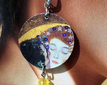 KLIMT, paper and stone earrings, Kiss, Love, Valentine's Day
