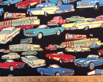 Vintage cars and trucks cotton fabric by the yard