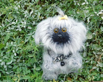 Knitted gray dog  Plush Toy Puppy  hand-knitted Amigurumi  dog  Personalised toy Doll stuffed toy  dog  woolen crochet toys