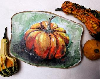Pumpkin Painting on Teakwood Board - Seasonal Autumn/Fall Home Decor, Halloween, Rustic Art Piece