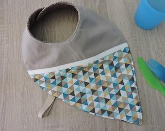 """geometric"" reversible bandana bib cotton Terry"