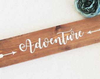 adventure sign, wooden adventure plaque, adventure home decor, wooden sign, travel sign, new home gift, nursery decor, adventure arrow decor