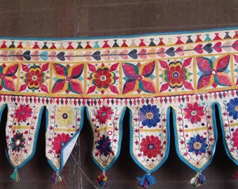 Indian handmade cotton colorful embroidered window hanging toran door valance