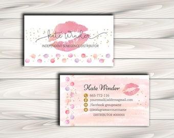LipSense Business Card, SeneGence - 3.5x2 - polka dot and lips