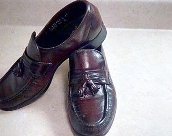 Vintage Florsheim Leather India Mens Slip On Shoes Tassels Burgundy 7 Loafers