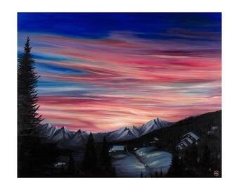 Art - Sunrise - La Tania - 347 x 290mm