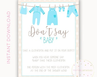 Clothes pin game sign, Dont say baby, Boy baby shower clothespin game, Printable baby shower game ideas, Gender reveal games ideas, PAW113