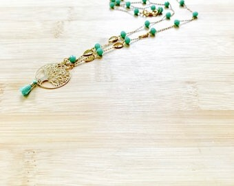 Turquoise & gold leaves necklace