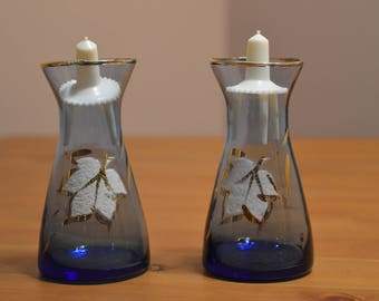 Vintage pair of hand painted clear blue glass mini vases with plastic wheel inserts