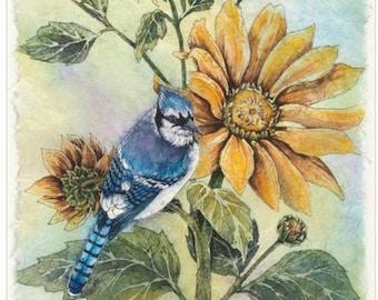 Sunflower Blue Jay Cross Stitch Pattern***L@@K***