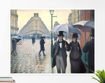 "Gustave Caillebotte, ""Paris Street, Rainy Day"". Art poster, art print, rolled canvas, art canvas, wall art, wall decor"