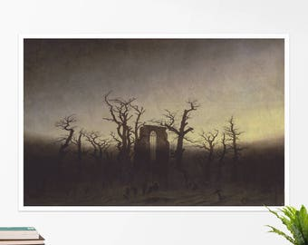 "C. D. Friedrich, ""The Abbey in the Oakwood"". Art poster, art print, rolled canvas, art canvas, wall art, wall decor"
