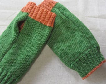 Wrist Arm Hand Warmer Mitten/Knitted Hand Warmer/Green Orange Hand Warmer/Fingerless Mitten