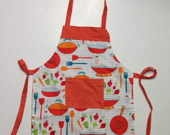 girl kitchen utensils pattern ideal for a future top chef apron