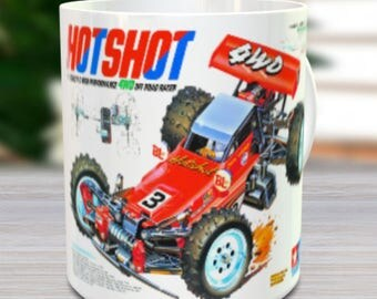 Hot Shot Coffee Mug with optional Keychain, Vintage Model, gift for hobby lover, RC Model Coffee Mug, Gift for Him, Radio Controlled Car