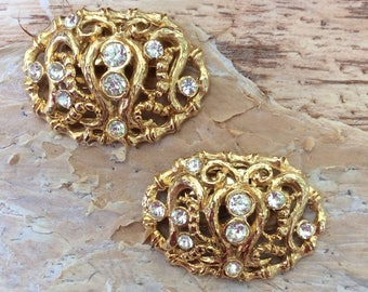 1960s Vintage Musi Baroque Rhinestone Shoe Clips wedding shoe clips gold