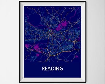 Reading Map Poster Print - Night