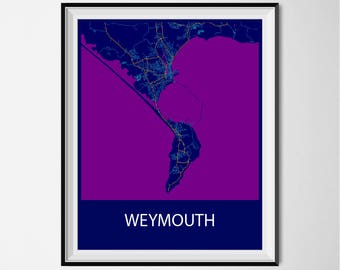 Weymouth Map Poster Print - Night