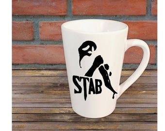 Stab Scream Ghostface Horror Halloween Mug Coffee Cup Gift Home Decor Kitchen Bar Gift for Her Him Any Color Personalized Custom