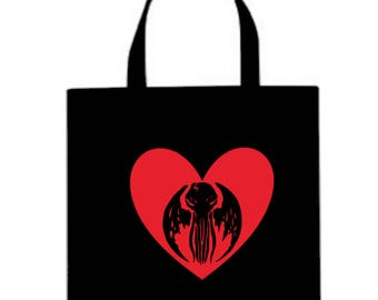 Cthulhu HP Lovecraft Valentine's Day Horror Canvas Tote Bag Market Pouch Grocery Reusable Halloween Merch Massacre Black Friday Christmas