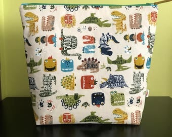 "Handmade large zipper pouch for knitting and crochet project 11.5"" x 7.5"" x 9.5"" x 3.5""  *Dino Dinos 2*"