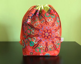 "Handmade Drawstring bag / pouch for knitting accessories 8.75"" x 5"" x 3.5"" *KFC Coloursplash*"