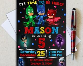 Pj Masks Invitation/ Pj Masks Birthday Invitation/ Pj Masks Party/ Pj Masks Invite/ Pj Masks Printable/ Pj Masks Download/ Pj Masks Boy