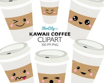 Coffee Clipart, Kawaii Clip art, Kawaii Coffee clipart, Coffee art, Java clipart, Cup of Joe clipart, cute clipart, Commercial use