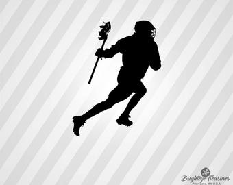 Lacrosse Player Silhouette - Dxf Svg Ai Pdf Eps Rld RdWorks Png Jpg and Wmf Print Files, Digital Cut, Vector File, Svg File, Cricut Svg, Sil
