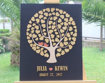 Black & Gold Wedding Guest Book -FAST Shipping 3D wedding guest book , Tree Hearts Wedding guest book alternative Custom wedding guestbook