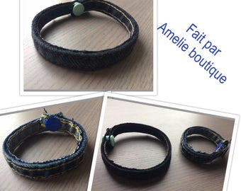 Recycling jeans blue, grey bracelet