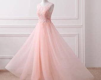 Pink Lace Dress Floor Length Flows Bridesmaid Dress Bridal