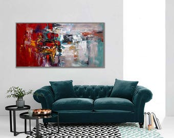 """Abstract Painting Modern Wall Art Acrylic Painting Canvas Art Red White Original Abstract Art Modern Interior Decor Painting 24x48""""/60x120cm"""
