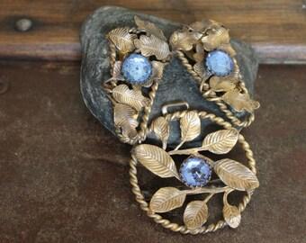 Vintage Dress Clips / Antique Dress Clips / Vintage Jewelry Set / Antique Jewelry Set / Art Deco Dress Clips / Art Deco Jewelry / Free Ship