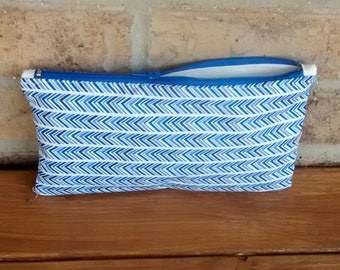 Blue chevron zipper pouch, cosmetic case, make up bag