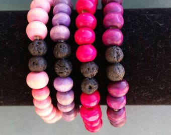 Kids wood and lava bead essential oil bracelet