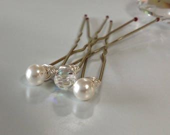 Swarovski Pearl & Swarovski AB Crystal Bridal Hair Pins set of 3