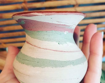Vintage Fort Ticonderoga Pottery Henry Graack Native American Vase // Ceramic Swirl Pot // Boho Decor