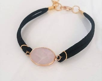 ON SALE Leather bracelet with rose quartz