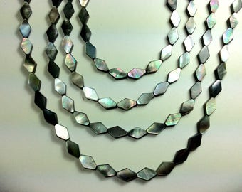 "Mother-of-Pearl, Black Lip Shell Beads. 8x12mm Rhombus. 16"" strand (approx 30 pcs), 1mm hole, one strand"