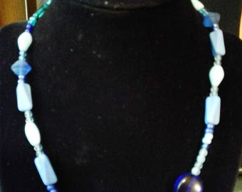 Assorted Blue Beaded Necklace #66