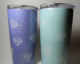 Glitter Scattered Diamonds Tumbler 20oz
