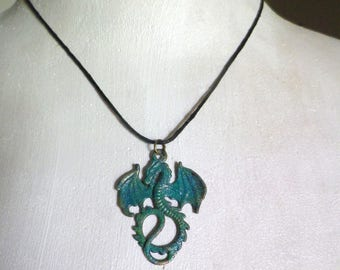 Unisex necklace turquoise enameled dragon