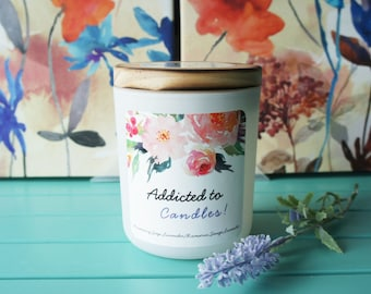 Scented Soy Candle/'ADDICTED TO CANDLES''/Rosemary,Sage and Lavender/Hand-poured candle