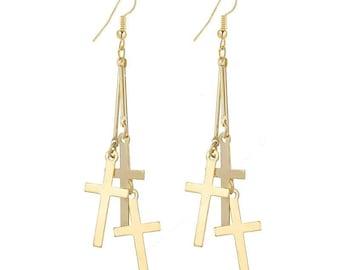 Gold Cross Earrings,Cross Earrings,Multi Cross Dangle Earrings,Cross Jewelry,Gold Cross Jewelry