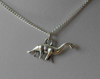 Silver Dinosaur Necklace, Tiny Dinosaur Necklace, Dinosaur Jewelry, Dinosaur Gift, Dinosaur Pendant, Dinosaur Lover Gift, Jurassic Jewelry