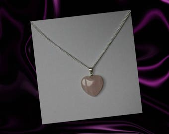 Rose Quartz Heart Necklace, Rose Quartz Heart Jewelry, Rose Quartz Pendant, Pink Crystal Necklace, Pink Gemstone, Heart Pendant